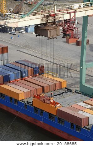 aerial-view of container-ship being loaded by container-crane