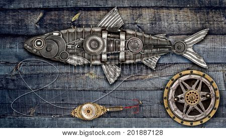 Steampunk style fish herring. Mechanical animal photo compilation