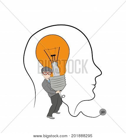 A man holds a light bulb in his head. New bright idea form human head, thinking about success solution, lightbulb as creativity metaphor. Flat icon modern design style vector illustration concept.