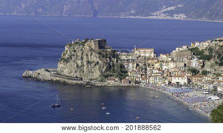 Scilla Calabria view of the Castle and beach