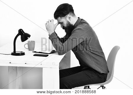 Bearded Man, Brutal Caucasian Serious Hipster With Moustache