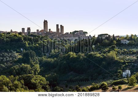 Panoramic view of the historic village of San Gimignano Tuscany