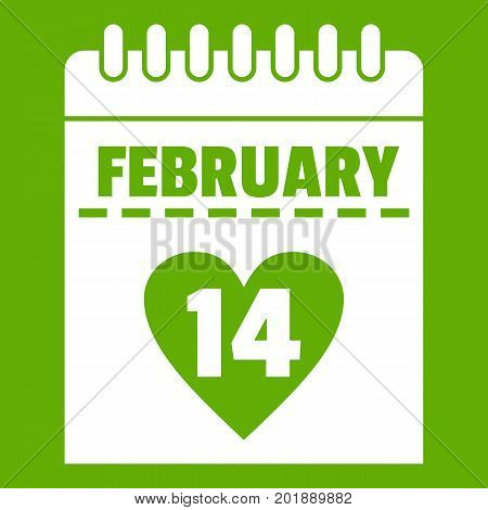 Valentines day calendar icon white isolated on green background. Vector illustration