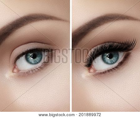 Beautiful macro shot of female eye with classic smoky makeup. Perfect shape of eyebrows brown eyeshadows and long eyelashes.Closeup macro shot of fashion smoky eyes visage. Before and after