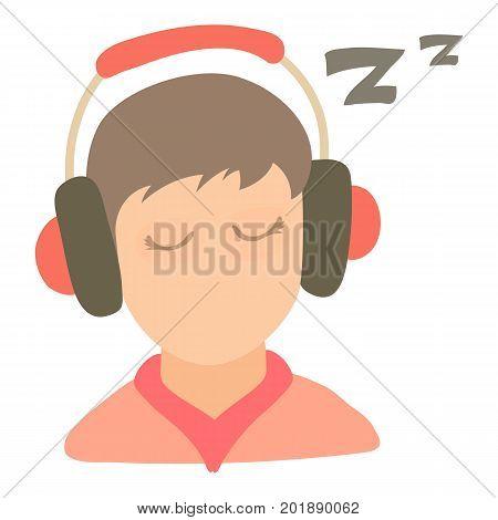 Little boy sleeping icon. Cartoon illustration of little boy sleeping vector icon for web