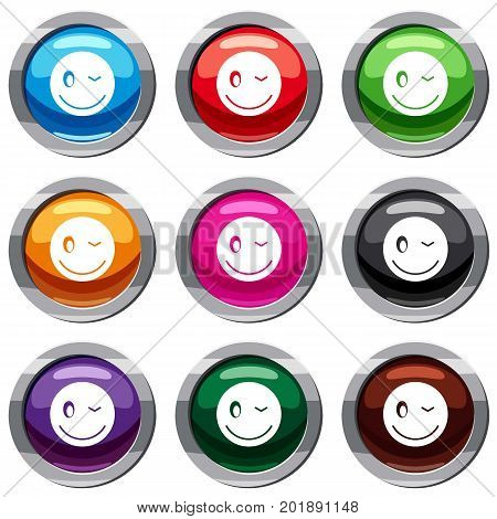 Eyewink emotset icon isolated on white. 9 icon collection vector illustration
