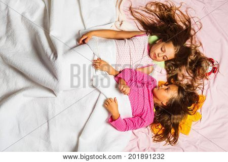 Children With Closed Eyes And Loose Hair