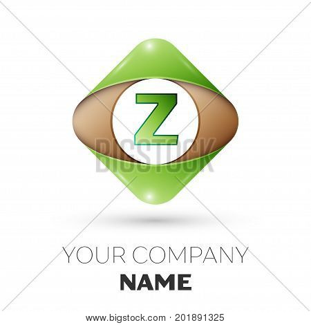 Realistic Letter Z vector logo symbol in the colorful rhombus on white background. Vector template for your design
