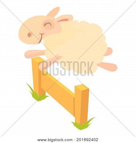 Sheep jumping over barrier icon. Cartoon illustration of sheep jumping over barrier vector icon for web
