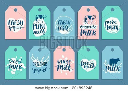 Vector hand drawn milk cards or labels. Signs set for dairy produce. Tags collection for products packaging, cartons, advertising etc.
