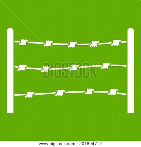 Restricted area icon white isolated on green background. Vector illustration