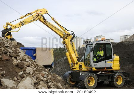 digger, bulldozer in action