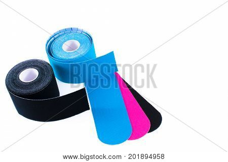 colorful kinesiology tape. Physiotherapy and therapeutic tape for wrist pain, aches and tension. elastic therapeutic tape. adhesive tape and alternative medicine. poster