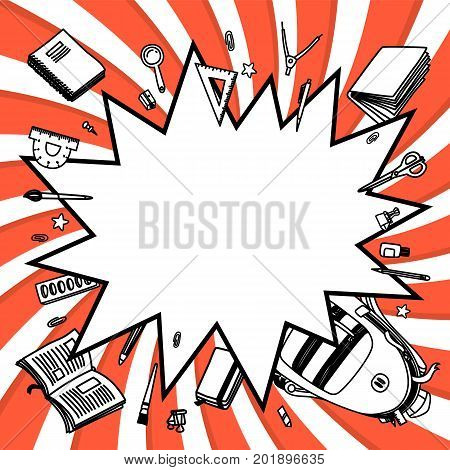 Stationery collection. Comics pop-art style empty bang shape. Outline style. Back to school thin line vector doodle illustration template isolated on red twisted background. Sketchy vector backpack and stationery for graphic design, web banner and printed