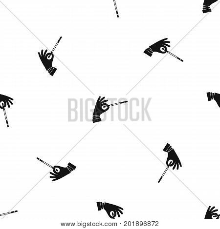 Magician hand with a magic wand pattern repeat seamless in black color for any design. Vector geometric illustration