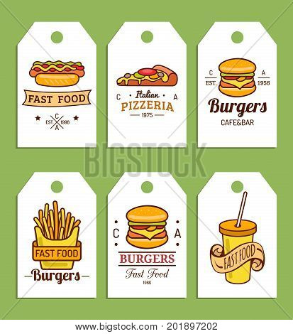 Vector fast food tags. Burgers, hot dogs, fry potato, pizza etc. illustrations. Vintage hand drawn quick meals labels collection. Snack bar, street restaurant, diner icons.
