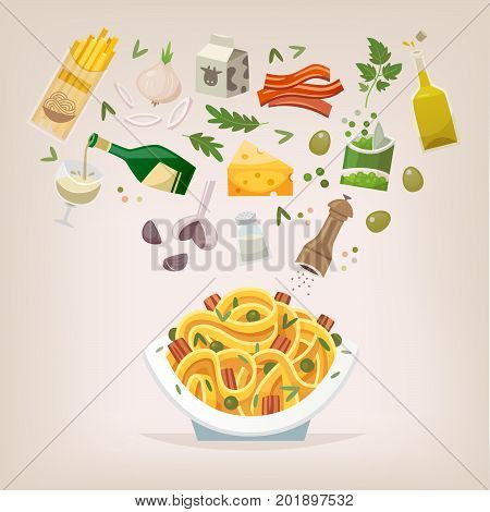 Famous dish of italian cuisine. Pasta with bacon peas and carbonara sauce and cheese. Throw ingredients in the air and get a perfect spaghetti on a plate. Vector illustration.