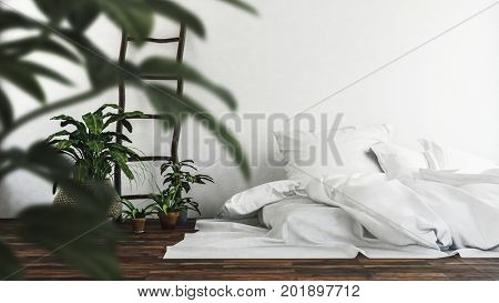 Mattress with unmade white bedclothes on a wooden floor viewed through the leaves of a potted plant with rustic rough wood ladder decoration on the wall. 3d Rendering.