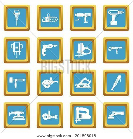 Electric tools icons set in azur color isolated vector illustration for web and any design