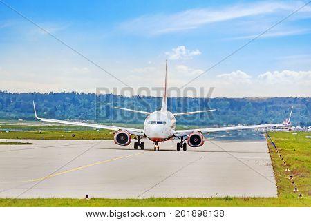Plane At Runway Before Takeoff