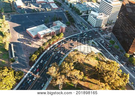 Aerial view of buildings on near Wilshire Blvd in Westwood, Los Angeles, CA