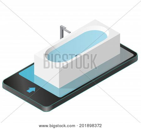 Vector bath tub in mobile phone. Isometric modern bathtub filled with water. Isolated sanitary equipment in communication technology paraphrase. Rectangular bathroom fixtures in family house apartment