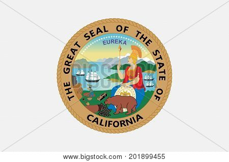 Flag of California is the most populous state in United States. Vector illustration