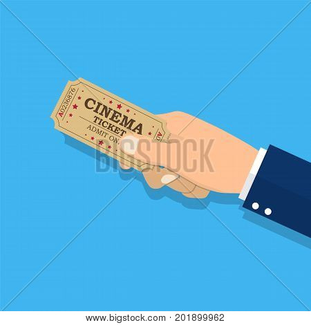 Holds tickets in hand. Man shows a ticket. Access entertainment, cinema, theater concert. Pass permission. Vector illustration in flat style
