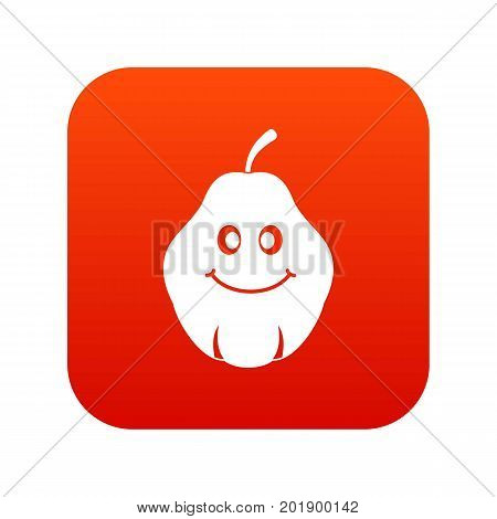 Smiling quince fruit icon digital red for any design isolated on white vector illustration