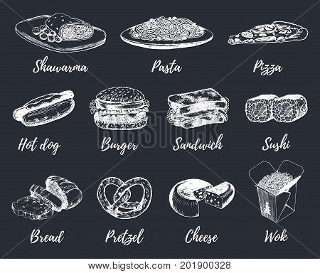 Fast food sketches vector set. Hand drawn international cuisine icons for snack bar menu, street cafe chalkboard etc. Quick meal illustrations.