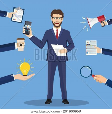 Caucasian hard working businessman. Businessman surrounded by many hands that give him a lot of work. Concept of hard working. Vector illustration in flat style
