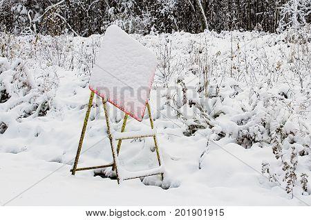 Construction Sign Hidden By Sudden Snow Storm