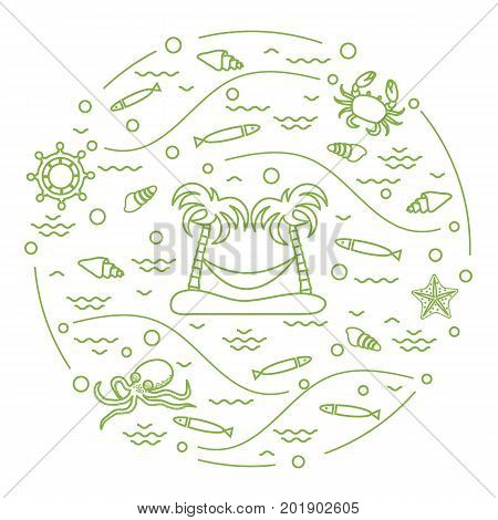 Cute Vector Illustration With Octopus, Fish, Island With Palm Trees And A Hammock, Helm, Waves, Seas