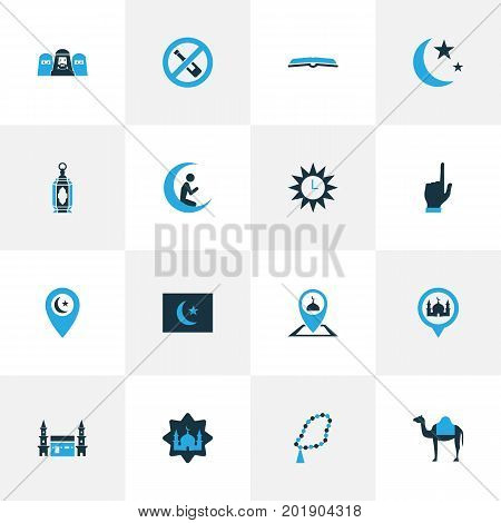 Holiday Colorful Icons Set. Collection Of Nacht, Pinpoint, Decorate And Other Elements