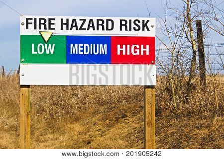 A fire hazard low risk indicator sign.
