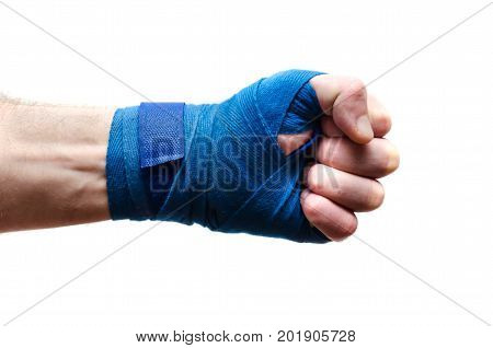 An athlete's fist a boxer bandaged with an elastic bandage poster
