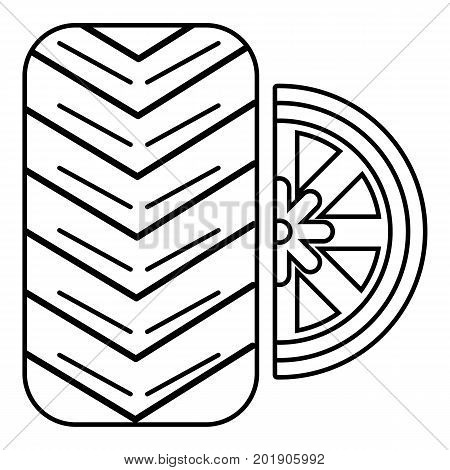 Tire icon. Outline illustration of tire vector icon for web