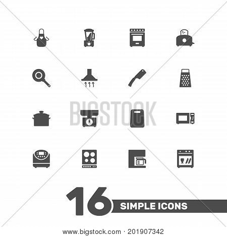 Collection Of Kitchen Ax, Furnace, Cooking And Other Elements.  Set Of 16 Cooking Icons Set.