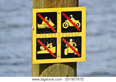 No Off-road Vehicle Sign Posted Near Water