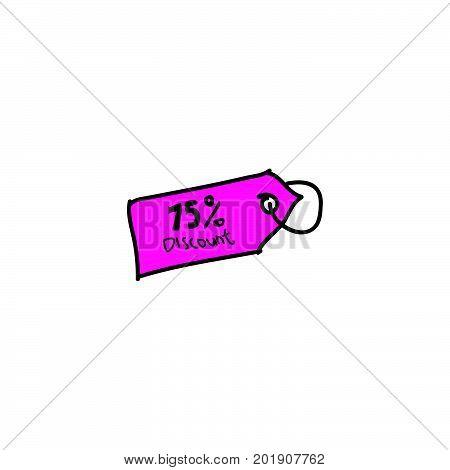 doodle 75% discount, 75% discount stock vector