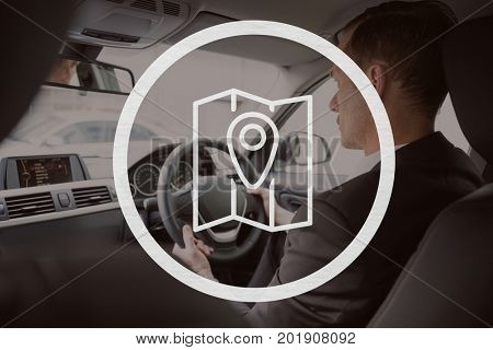 Digital composite of Map icon against man driving photo
