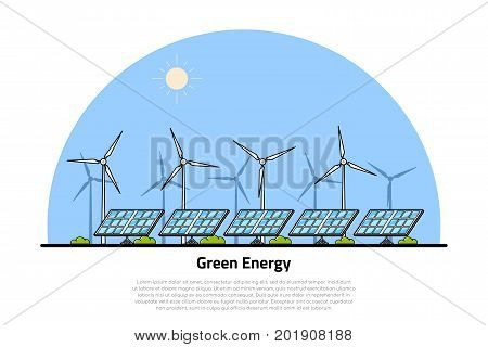 picture of wind turbines and solar panels, flat style line art concept of renewable wind and solar energy