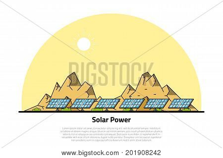 picture of solar batteries with mountains on background, flat style line art concept of renewable solar energy