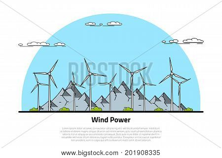 picture of wind turbines with mountains on background, flat style line art concept of renewable wind energy