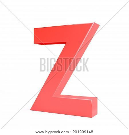 Red plastic letter Z. Collection. 3d image