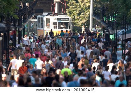 Sofia Bulgaria - 19 August 2017: People walk the Vitosha boulevard in Saturday. Busy city street.