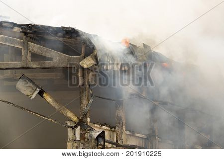 Large Fire Disaster In A Warehouse