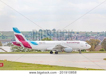 Airbus A320 From Eurowings At Runway Before Takeoff