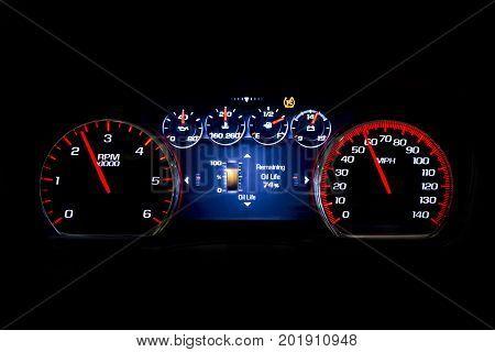 Modern Light Car Mileage On Black Background Oil Life