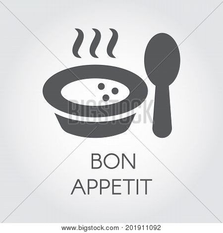 Plate with spoon flat icon. Portion of hot food with steam and wish bon appetit. Label for culinary design needs - sticker, books, pictogram for sites, apps and other projects. Vector illustration